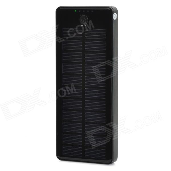 Solar Powered 5V 1A / 2A 15000mAh Dual USB Port Li-polymer Battery Power Bank w/ LED - Black solar battery powered butterfly random color