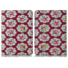 ENKAY Flower Pattern Protective Flip Open PU + Plastic Case w/ Stand / Card Slots for IPAD AIR