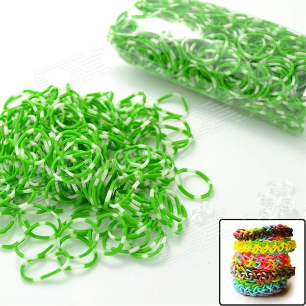DIY Elastic Silicone Band + S Hook Set for Children - White + Green 3 pieces set princess girls flowers headband with nylon elastic band photography props for newborn hair accessories hair bands