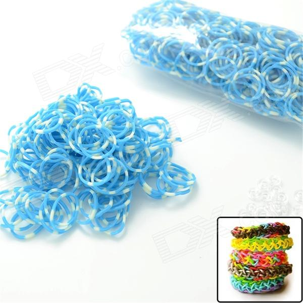DIY Elastic Silicone Band + S Hook Set for Children - Blue + White diy elastic silicone band s hook set for children purple
