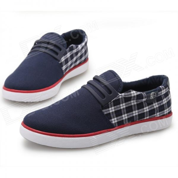 ShangJin Men's Grid Style Canvas Casual Shoes - Deep Blue + White + Multicolored (Size 43)