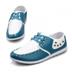 SNJ Fashionable Breathable Causal PU Leather Shoes for Men - Light Blue + White (Size 42)