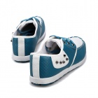 SNJ Fashionable Breathable Causal PU Leather Shoes for Men - Blue + White (Size 44)