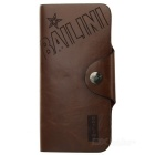 Stylish Split Leather Long Wallet Purse - Brown