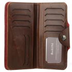 Elegante couro rachado longo Wallet Purse - Brown