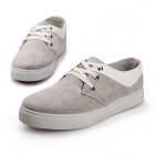 ShangJin Men's Fashionable Casual Suede Leather Shoes - Deep Grey + White (Size 44)