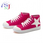 ShangJin High-top Star Icon Women's Casual Canvas Shoes - Deep Pink + White (Size 37)