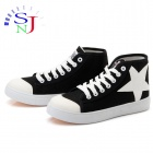 ShangJin High-top Star Icon Women Casual Canvas Shoes - Black + White (Size 37)