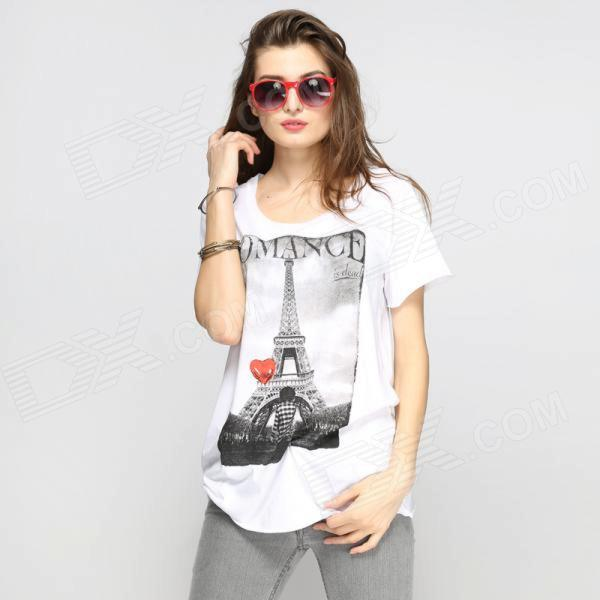Catwalk88 European Style Women's Short-sleeved Round Neck T-shirt - White (L)