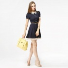 Catwalk88 Women's Fashion Cotton Hollowed-out Collar Short-sleeves Dress - Deep Blue (L)