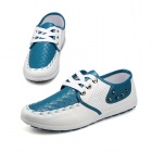 ShangJin Fashionable Breathable Causal PU Leather Shoes for Men - White + Light Blue (Size 42)