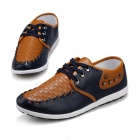 ShangJin Fashionable Breathable Causal PU Leather Shoes for Men - Deep Blue + Brown (Size 42)