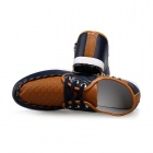 ShangJin Fashionable Breathable Causal PU Leather Shoes for Men - Deep Blue + Brown (Size 44)
