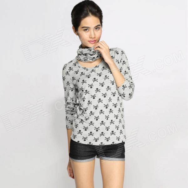 Catwalk88 Women's Scarf Style Collar Printed Long Sleeved T-shirt - Silver + Black + White (L)