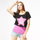 Catwalk88 Women's Sexy Midriff-baring Outwear Short-Sleeves T-Shirt - Black + Pink + White (L)