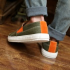 ShangJin Men's Breathable Canvas Shoes Sneakers - Amy Green + Orange + White (EU Size 42)