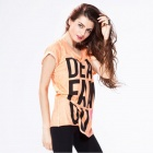 Estilo europeo mangas cortas verano Casual largo cuello redondo t-shirt Catwalk88 femenina-Orange (L)