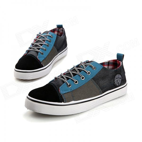 ShangJin Men's Casual Canvas Shoes - Blue + Black (Size 44)