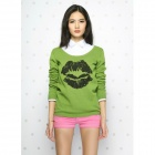 Catwalk88 European High Quality Lip Pattern Women's Long Sleeved Knit Shirt - Green (Size L)