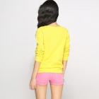 Long Catwalk88 alta calidad europea femenina Sleeved Shirt Knit - amarillo (talla L)