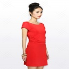 Women's Summer Wear European Style Short-sleeved Slim Mini Cocktail Dress - Red (L)