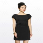 Women's Summer Wear European Style Short-sleeved Slim Mini Cocktail Dress - Black (L)