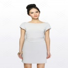 Women's Summer Wear European Style Short-sleeved Slim Mini Cocktail Dress - Silver (L)