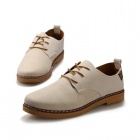 ShangJin Men's Fashionable Breathable Suede Leather Shoes - Beige + Brown (EU Size 42)