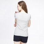 Catwalk88 Women's European Style Summer Short-sleeved Casual Round Neck T-shirt - Grey (L)