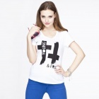 Catwalk88 Women's European Style Summer Short-sleeved Casual Round Neck T-shirt - White (L)