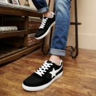 ShangJin Men's Comfortable Casual Canvas Shoes - Black + White (Size 42)