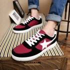 ShangJin Men's Comfortable Casual Canvas Shoes - Black + White + Red (Size 44)
