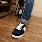 ShangJin Men's Comfortable Casual Canvas Shoes - Black + White + Blue (Size 44)