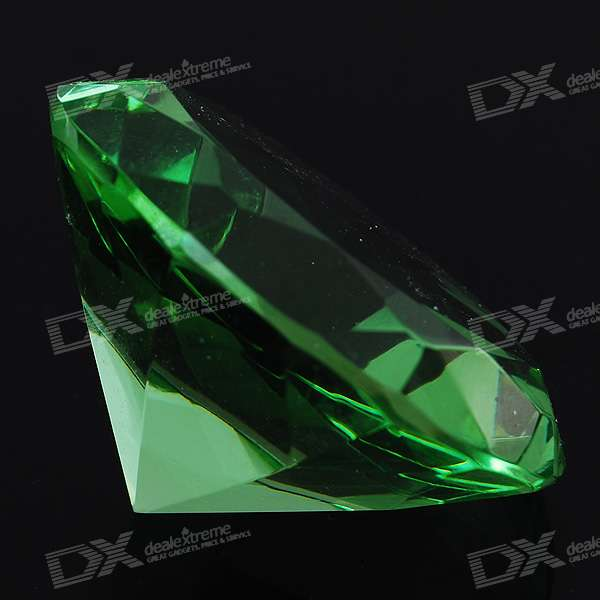 Charming Diamond Shaped Glass Table Green Crystal