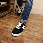 ShangJin Men's Comfortable Casual Canvas Shoes - Black + White (Size 44)