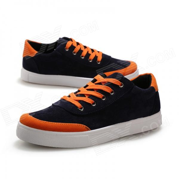 ShangJin Men's Breathable Canvas Shoes - Black + Orange + White (EUR Size 44)