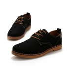 ShangJin Men's Fashionable Breathable Suede Leather Shoes - Black + Brown (EU Size 43)
