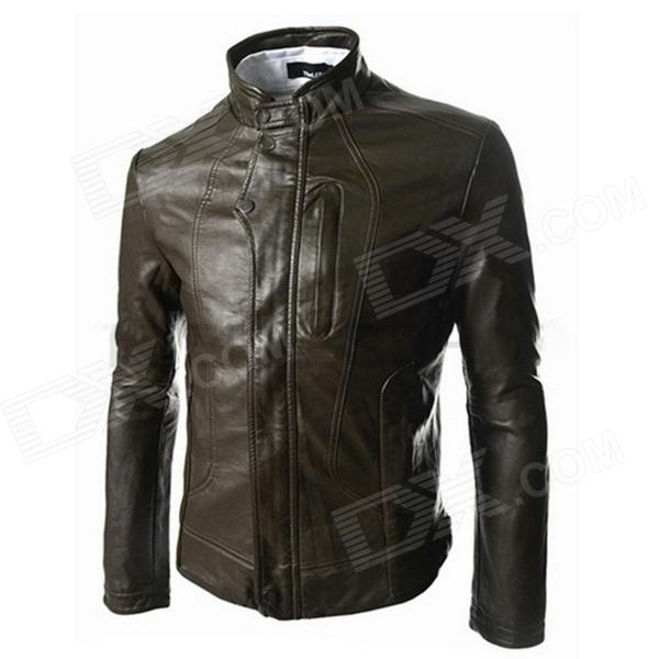 1401-PY23 Men's Casual Fashionable PU Leather Jacket w/ Pockets - Coffee (L)