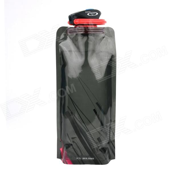 OUMILY Portable Outdoor Cycling Folding Water Bottle Bag w/ Carabiner Clip - Black (700ml)