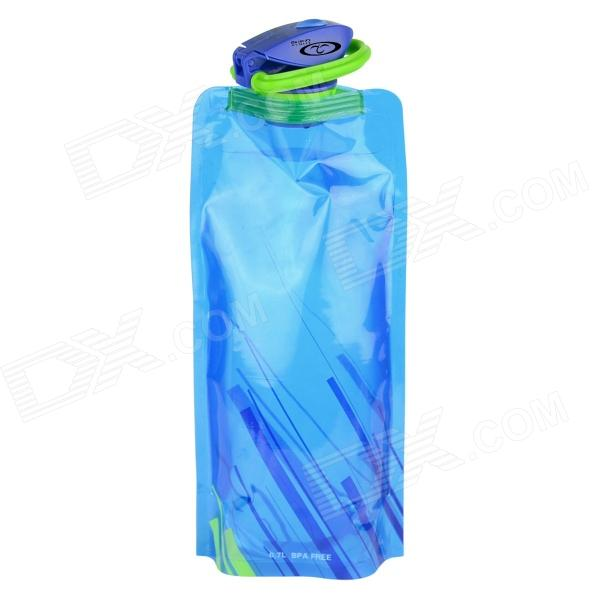 OUMILY Water Bag Folding Water Bottle Bag w/ Clip - Blue (700ml)