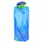 OUMILY Portable Outdoor Cycling Water Bag Folding Water Bottle Bag w/ Carabiner Clip - Blue (700ml)