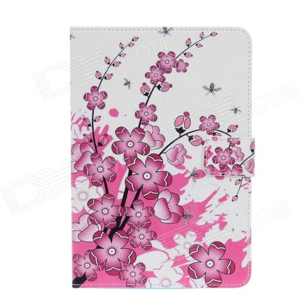 Plum Blossom Pattern Protective PU Leather Case Cover Stand for IPAD Air - White + Deep Pink devia fashionable cross pattern protective pu leather case cover stand for ipad air pink