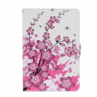 Plum Blossom Pattern Protective PU Leather Case Cover Stand for IPAD Air - White + Deep Pink