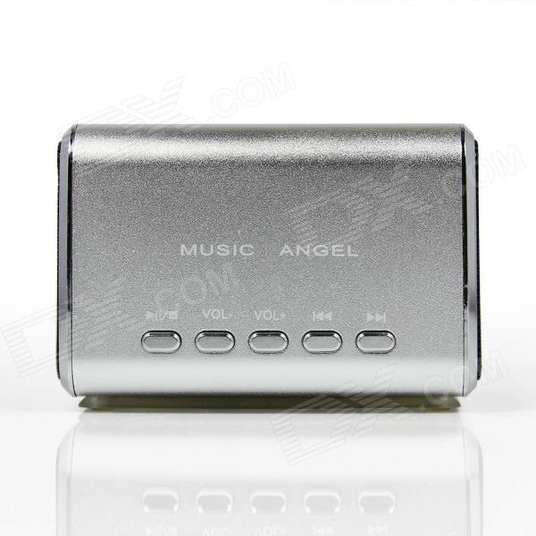 MD-05 Mini USB Rechargeable PC MP3 Player Speaker w/ TF Slot / LED Light - Silver