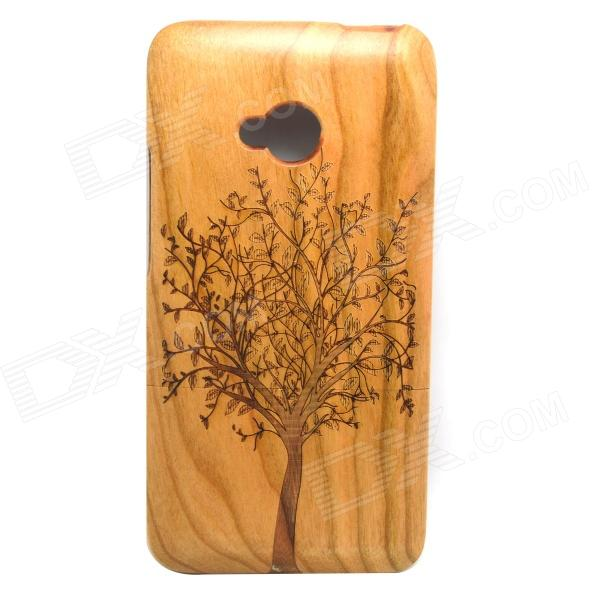 LS-1 Tree Patterned Protective Bamboo Volver Funda desmontable para HTC ONE M7 - Marrón