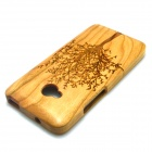 LS-1 Tree Patterned Detachable Protective Bamboo Back Case Cover for HTC ONE M7 - Brown
