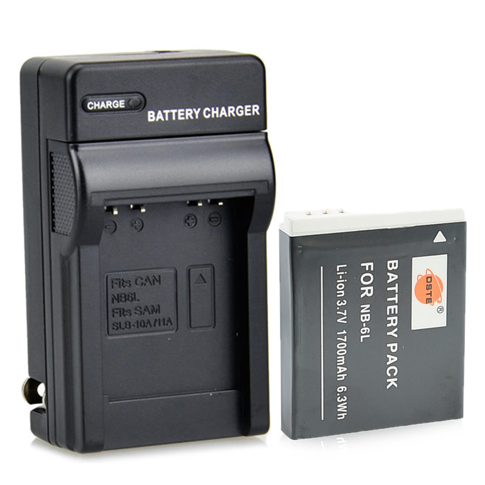 DSTE NB-6L +DC23 3.7V 1700mAh 2-Slot Li-ion Battery Charging Dock for Canon - Grey dste bp88b аккумулятор для samsung mv900 mv900f цифровая камера
