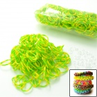 "DIY Looms Elastic Silicone Rainbow Band + ""S"" Hook Set for Children - Green + Yellow"