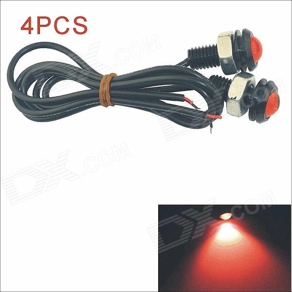 Kapeier 12V 1.5W 18mm Auto Car Eagle Eye Red Rear LED Light Day Time Running Lamps (4 PCS)