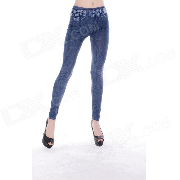 Sexy Women's Jeans Style Tight Polyester + Spandex Leggings / Pants - Blue + White (Free Size) elonbo y1c11 women s vertical strip style tight fitting polyester spandex leggings black white